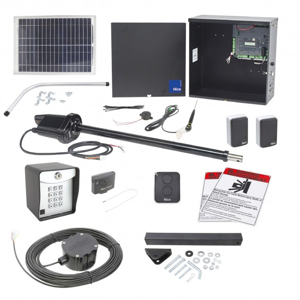 Nice Apollo 1550 ETL-1K Swing Gate Opener Solar Package w/ 20 Watt Solar Panel and Entry/Exit Controls