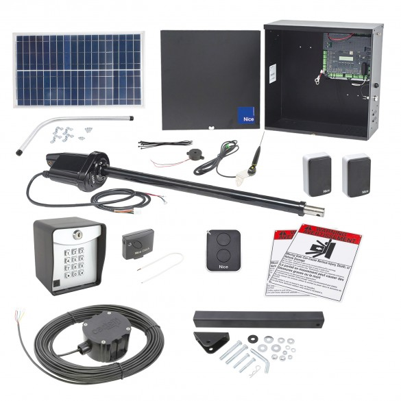 Nice Apollo 1550 ETL-1K Swing Gate Opener Package w/ 30 Watt Solar Panel and Entry/Exit Controls