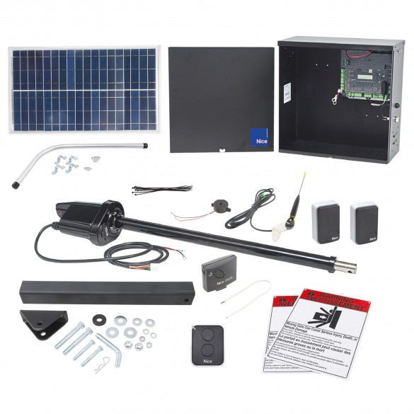 Nice Apollo 1550 ETL-1K Swing Gate Opener Solar Package w/ 30 Watt Solar Panel