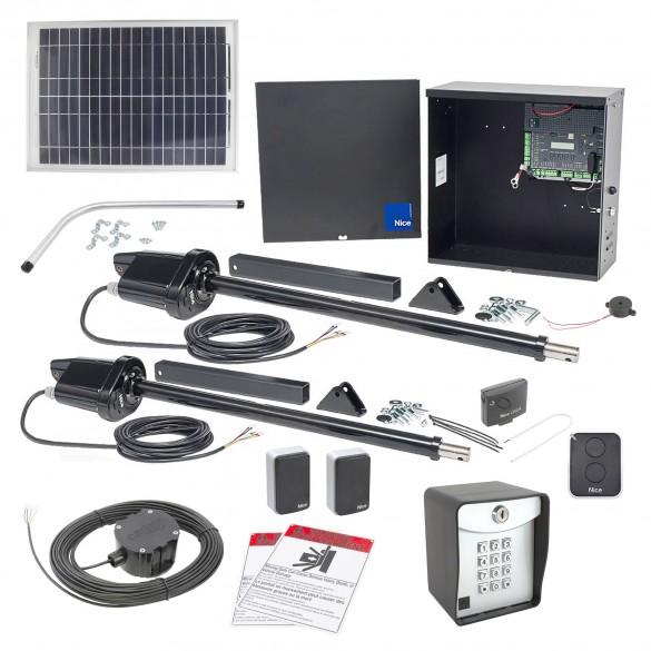 Nice Apollo 1650ETL-1K Smart ETL Dual Swing Gate Opener Solar Package w/ 20 Watt Solar Panel and Entry/Exit Controls