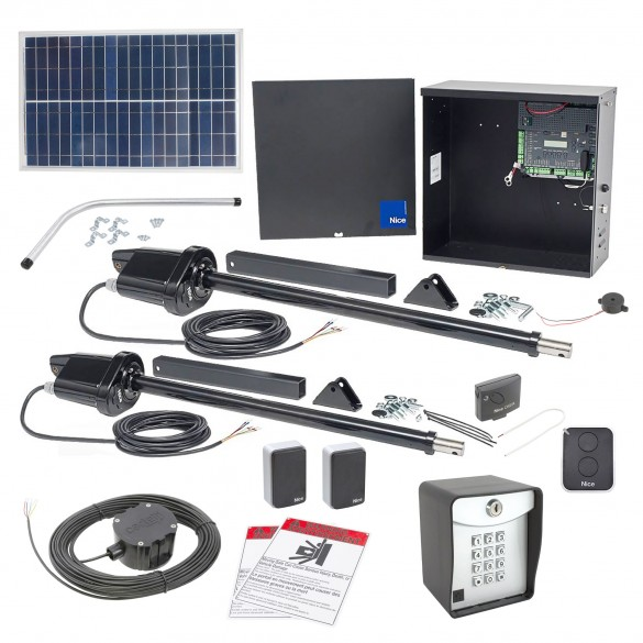 Nice Apollo 1650ETL-1K Smart ETL Dual Swing Gate Opener Solar Package w/ 30 Watt Solar Panel and Entry/Exit Controls