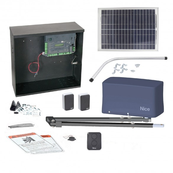 Nice Apollo 3500ETL-1k 3501 Swing Gate Opener Solar Package w/ 20 Watt Solar Panel