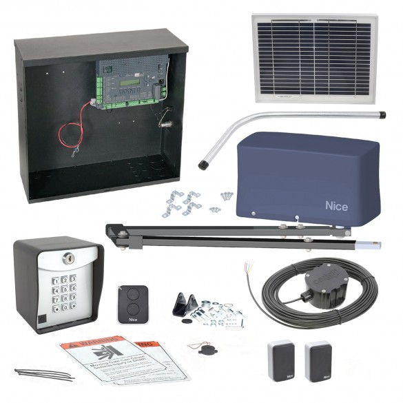 Nice Apollo 3500 ETL-1k 3501 Swing Gate Opener Solar Package w/ 10 Watt Solar Panel and Entry/Exit Controls