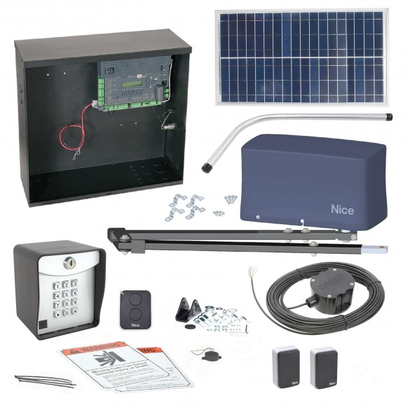 Nice Apollo 3500 ETL-1k 3501 Swing Gate Opener Solar Package w/ 30 Watt Solar Panel and Entry/Exit Controls