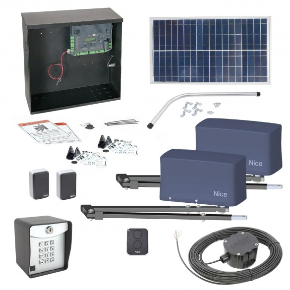 Nice Apollo 3600ETL-1k Dual Swing Gate Opener Solar Package w/ 30 Watt Solar Panel and Entry/Exit Controls