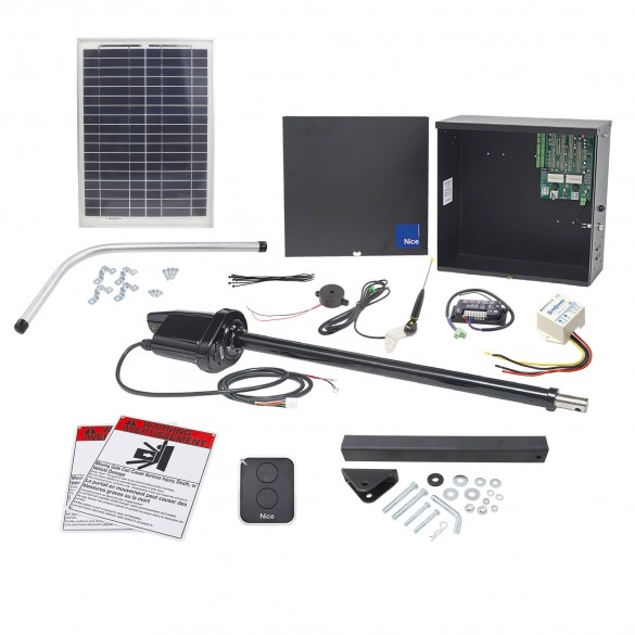 Nice Apollo 1500 Swing Gate Opener Solar Package w/ 20 Watt Solar Panel