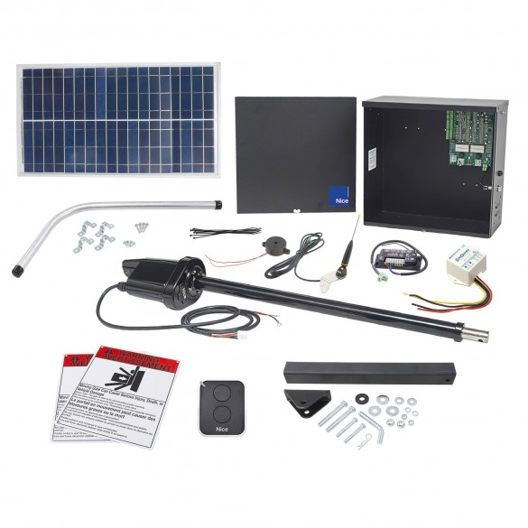 Nice Apollo 1500 Swing Gate Opener Solar Package w/ 30 Watt Solar Panel