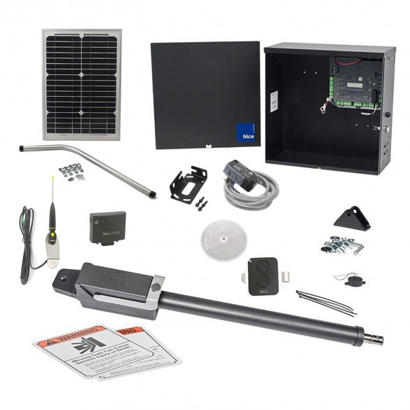 Nice Apollo TITAN12L1 Solar Powered Swing Gate Operator Package (1050 Board) - 10 Watts