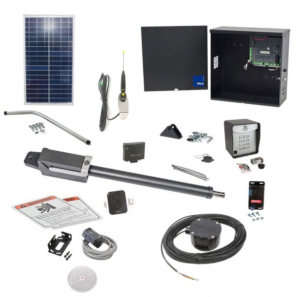 Nice Apollo TITAN12L1 Swing Gate Opener Solar Package w/ 1050 Control Board, 30 Watt Solar Panel and Entry/Exit Controls