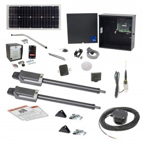 Nice Apollo TITAN12L1 Dual Swing Gate Opener Solar Package w/ 1050 Control Board, 20 Watt Solar Panel and Entry/Exit Controls