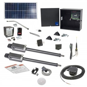 Nice Apollo TITAN12L1 Dual Swing Gate Opener Solar Package w/ 1050 Control Board, 30 Watt Solar Panel and Entry/Exit Controls