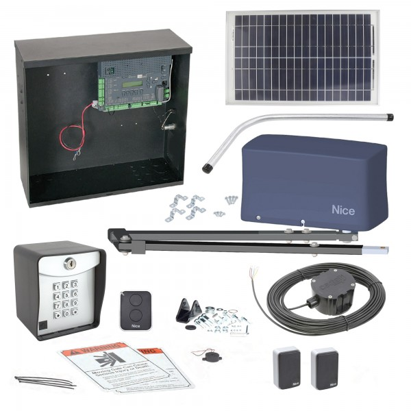 Nice Apollo 3500 ETL-1k 3501 Swing Gate Opener Solar Package w/ 20 Watt Solar Panel and Entry/Exit Controls
