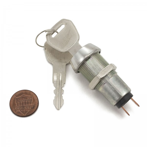 Single Pole Key Switch with 2 Keys (penny shown for scale)